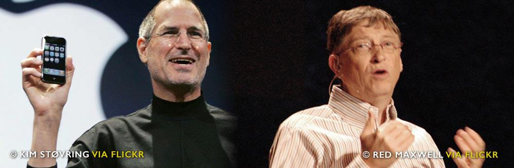 """Steve Jobs versus Bill Gates… """"A designer knows he has achieved perfection not when there is nothing left to add, but when there is nothing left to take away."""" – Saint-Exupéry"""