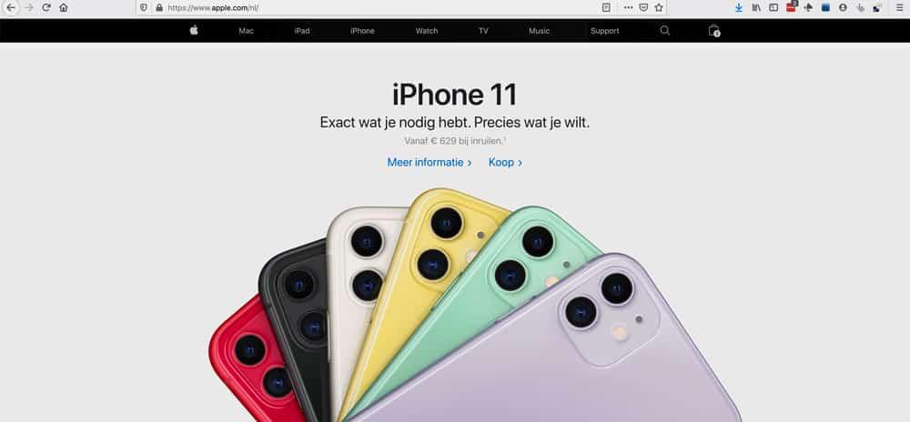De website van Apple: toonbeeld van een aantrekkelijke tekst-beeld-verhouding.